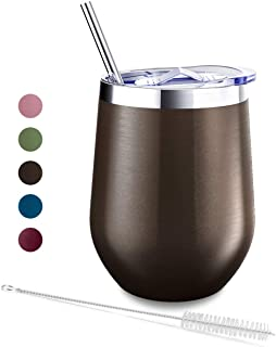 Blingco 340.19 克不锈钢无钢制酒杯,酒杯带盖和吸管,双层真空杯隔热葡萄酒杯,适用于酒、咖啡、啤酒、鸡尾酒 棕色 1 包