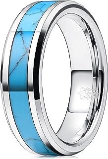 Three Keys Jewelry 8 毫米男士钨金婚戒双色咖啡棕玫瑰金色拉丝订婚戒指