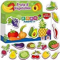 冰箱磁贴适合儿童 FRUITS & VEGGIES (31 件)- 适合幼儿活动的冰箱磁贴 - 儿童磁铁 - 幼儿磁铁 - 婴儿磁铁 - 食物磁贴 - 磁性形状 - 泡沫磁铁