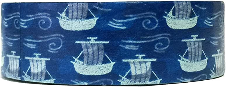 Wrapables Colorful Patterns Washi Masking Tape, Sea Voyage