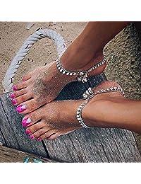 Asooll 银色波西米亚亮片金属钟脚链时尚脚踝手链夏季海滩*首饰套装 1 件