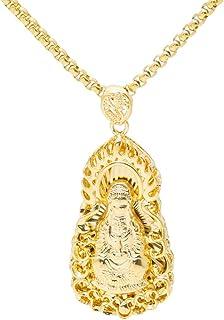 Xusamss 时尚 18K 镀金不锈钢 Guanyin Buddha 标签吊坠项链,55.88 厘米项链