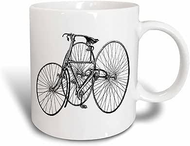3drose florene 复古–复古三轮车适用于成人–马克杯 黑色/白色 11 oz