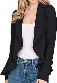 CLOVERY 女式長袖開衫輕質前開式辦公室西裝,加大碼