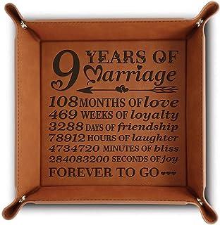 BELLA BUSTA- 9周年婚姻 - Forever to go-雕刻皮革托盘 带分解日期 - 收纳和整理首饰托盘(牛皮) Rawhide