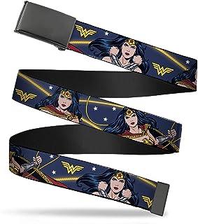 Buckle-Down 帆布腰带 单色夹扣 神奇女侠 3 种姿势标志星星蓝黄白男士女士儿童