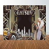 Allenjoy 304.8x2.24m Great Gatsby 背景照片生日、成人、咆哮的 20 年代毕业主题派对黑金色横幅照片工作室背景光电筒新年 10'x8' Durable ThinFabric Great Gatsby
