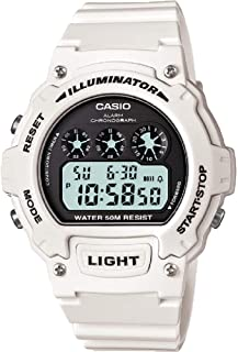Casio W-214HC-7AVEF 男式白色計時腕表
