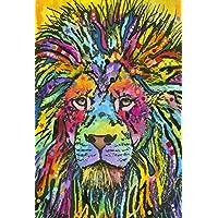Toland Home 花园霓虹狮子图案 71.12 x 101.6 cm 彩色流行艺术动物装饰房旗