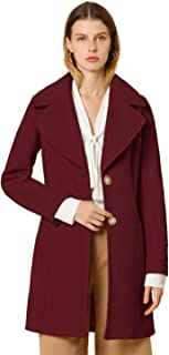 Allegra K 女式优雅缺口翻领纽扣单排扣冬季外套