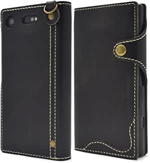 PLATA 壳 手册式 真皮 皮革 袋DSO02K-60BK Xperia XZ1 Compact SO-02K 黑色