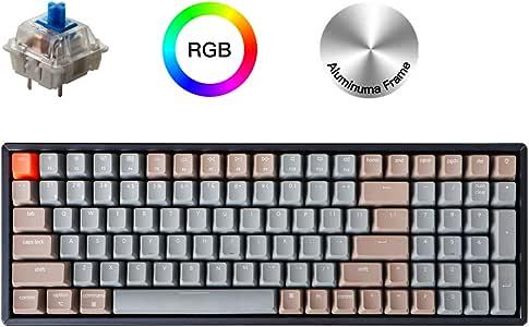 K4 RGB 背光无线蓝牙/USB 有线游戏机械键盘铝制框架 适用于 Mac Windows