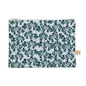 Kess InHouse 绿色花朵所有包扁平袋 Julia Grifol,青色,21.59 x 15.24 cm (JG1044AEP01)