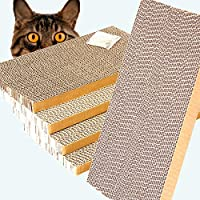ShioSel 猫爬板,猫抓板,猫抓板,含猫薄荷,大号,16 x 8.3 x 1英寸,5 件装