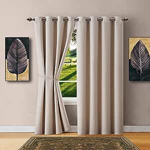 "Warm Home Designs NICOLE 象牙色 1 Wide-Size Panel: 54"" x 63"" Ivory Blackouts 63"