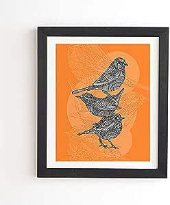 Deny Designs Valentina Ramos 3 小鸟带框墙壁艺术,27.94 厘米 x 33.02 厘米,橙色