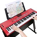 活石 61键儿童电子琴成人初学入门者乐器钢琴 (61键-中国红+琴架)