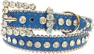 女孩蓝色皮革皮带和透明水钻皮带扣,尺码 S/M