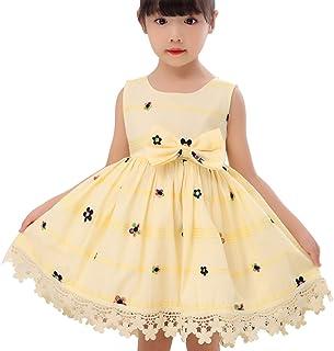 SUÀBAG 女童无袖连衣裙花卉摆裙儿童派对裙带花朵刺绣蕾丝腰带和蝴蝶结
