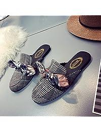 FGHGF 凉拖鞋女2018春夏 女鞋包头半拖鞋平跟拖鞋女蝴蝶结拖鞋夏外穿 百搭