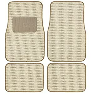 Deluxe Berber Premium Thick Plush Carpet Car Floor Mats w/ Ridged Carpeted Heel Pad, set of 4 for Front and Rear 米黄色