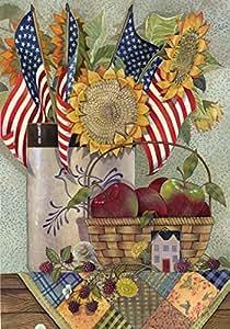 Toland Home Garden American Sunflower Garden Flag 红色 House-Large-28x40-Inch