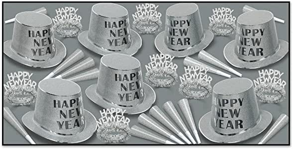 Beistle 88835-S50 50-Piece Assorted Mirage Party Favors, Silver/Black/White