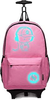 Kono 中性儿童儿童背包笔记本电脑背包背包书包行李箱行李箱行李箱旅行商务轮推车推车手套 适合男孩和女孩 粉色 M