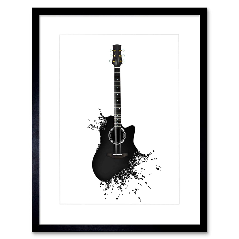�9.���)�.�9l$yi��f-9�-�f�x�_绘画illusic guitar note decay cool 框架印画 f97x4753 黑色 9 x 7