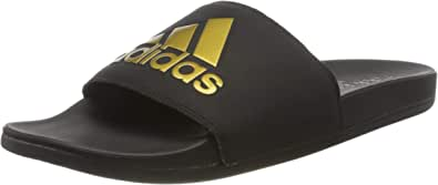 adidas 阿迪达斯男式 addilette 舒适凉鞋 Core Black Gold Metallic Core Black 5 UK
