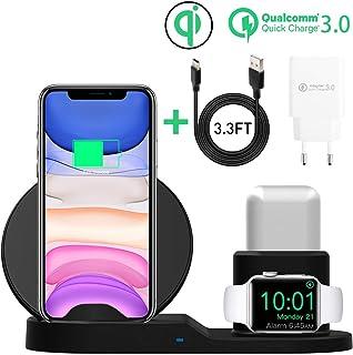 AICase Qi 无线充电器,3 合 1 充电板,多设备无线充电器基座,适用于空气豆荚,Apple Watch 系列 5/4/3/2/1 和 iPhone 11/11 Pro/11 Pro Max/XR/X/8 Galaxy Note10/9 等