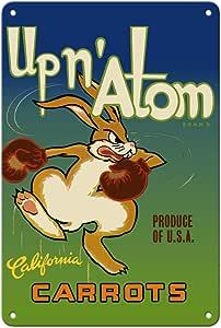 Pacifica Island Art - 加利福尼亚胡萝卜 - Up n' Atom 品牌 - 复古水果箱标签 c.1950 年代 - 精美艺术印刷品 多种颜色 8 x 12 in Tin Sign MTSA3602