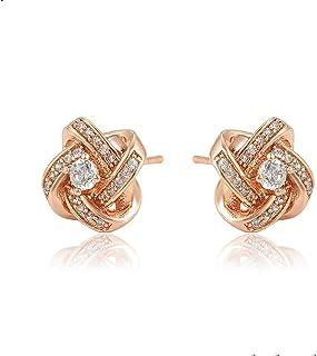 Olivia Star Jewelry 女式方晶锆石玫瑰金镀耳钉 96696