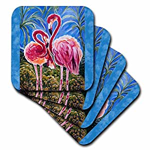 cst_54920_3 Yelena Rubin Painting Birds and Dreamscapes - This is the trinity concept of love - bird flamingos and the subliminal heart formed by the heads. - Coasters - set of 4 Ceramic Tile Coasters