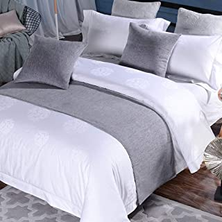 Mengersi 纯色天鹅绒印花柔软床上用品围巾适用于卧室酒店婚房(双人床/大床,灰色)