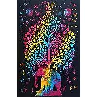 New Age Imports, Inc. 生命之树壁挂大象毯 137.16 x 213.36 厘米。 非常适合用作床铺、床罩、桌布、窗帘、壁挂、海滩或野餐。