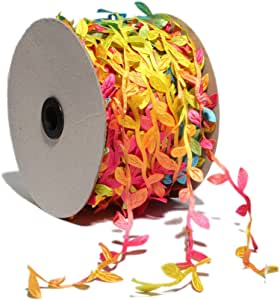 树叶装饰丝带按码出售 DIY 工艺品派对婚礼家庭花环装饰(20 码) HB014-Rainbow 20 Yards HB