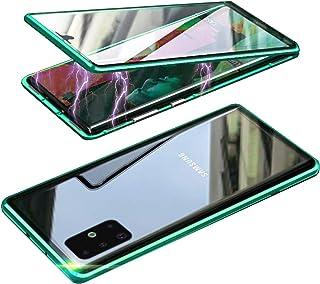 HONTECH Galaxy A51 5G 磁性外壳,超薄磁吸附前后钢化玻璃内置屏幕保护膜金属保险杠翻盖外壳 6.5 英寸 *