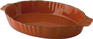 HABI 14014 带手柄的椭圆形瓷盘,31 厘米,橙色,石仓,橙色