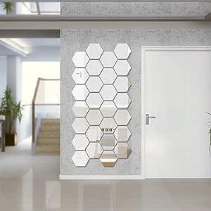 Sunm Boutique 六边形镜子 12 件几何六边形镜子可移除六边形镜艺术 DIY 家居装饰品 3D 六边形丙烯酸镜面墙贴