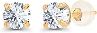 正品 10K 纯黄金 3mm 圆形白色蓝宝石诞生石耳钉