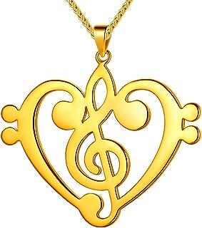 Beautlace 女式音符项链银色/18K 金黑色枪镀高音谱符珠宝送给音乐爱好者的礼物