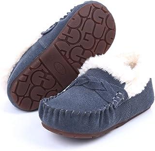 Robasiom 女孩和男孩牛皮软帮乐福鞋,绒面革儿童婴儿冬季拖鞋(幼儿/小童)