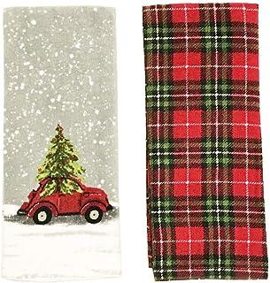 COCO 复古红车带圣诞树厨房毛巾套装,格子图案冬季假日毛巾套装(2 件)