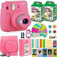 FujiFilm Instax 迷你 9 相机配件包 - 相机、即时胶片(40 张),便携包、彩色滤镜、相册、贴纸、自拍镜头 + 更多fuji pink with 40 fim 火烈鸟粉色