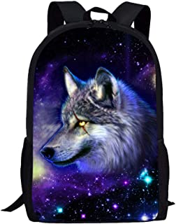 NDISTIN 个性化动物背包书包 17 英寸(约 43.2 厘米)适合青少年男孩女孩 银河狼 均码