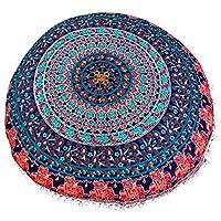 大象和孔雀图案大圆枕套装饰性曼荼罗枕头套印度波西米亚软边小狗枕头套户外靠垫套