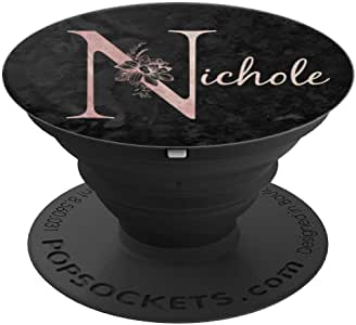 Nichole 名字个性化粉红玫瑰黑色设计 PopSockets 手机和平板电脑握架260027  黑色