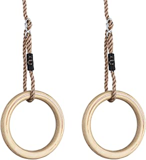 HappyPie 1 pair Wooden Gymnastic Rings - Premium Heavy Duty Rings for Body Strength and Cross Fit Training in Backyard Gym Rings with Pp Adjustable Ropes