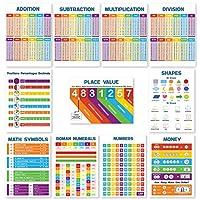 小学 11 个数学海报(课堂海报基本款) 每个数学海报简化儿童的数学时间 - 时代桌图、分格、数字海报、Place Value &More 13x18(无层压)